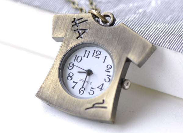 Pocket Watch - 1 PC Antique Bronze T-Shirts Clothes Pocket Watch A7962