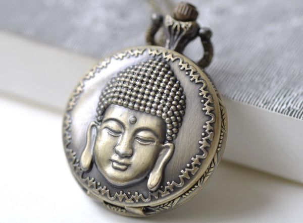 Pocket Watch - 1 PC Antique Bronze Buddha Head Religious Pocket Watch  A7973