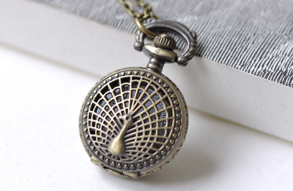 Pocket Watch - 1 PC Antique Bronze Small Size Peacock Pocket Watch  A7966