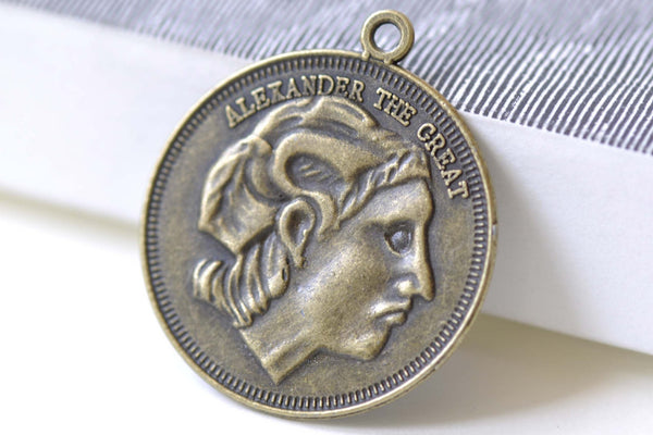 People, Profession & Hobby - 10 pcs Alexander The Great Coin Pendants Antique Bronze Charms A7988