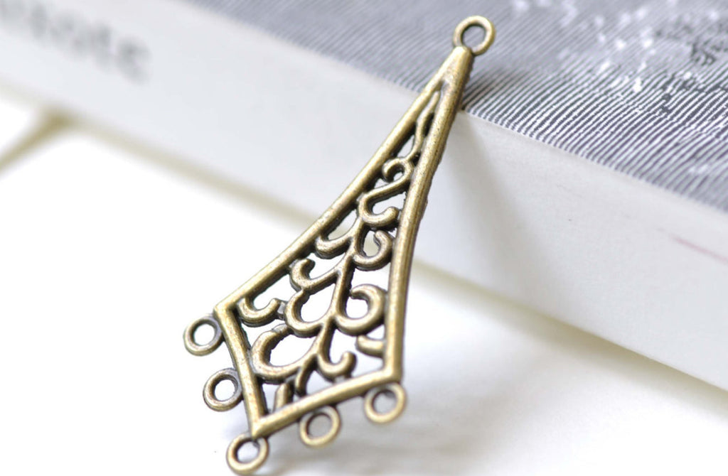 10 pcs Antique Bronze Rhombus Chandelier Earring Pendant A7990