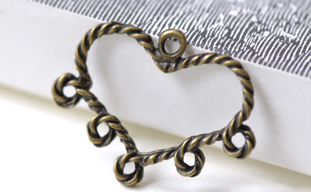 Antique Bronze Heart Chandelier Earring Connector Set of 10 A7995