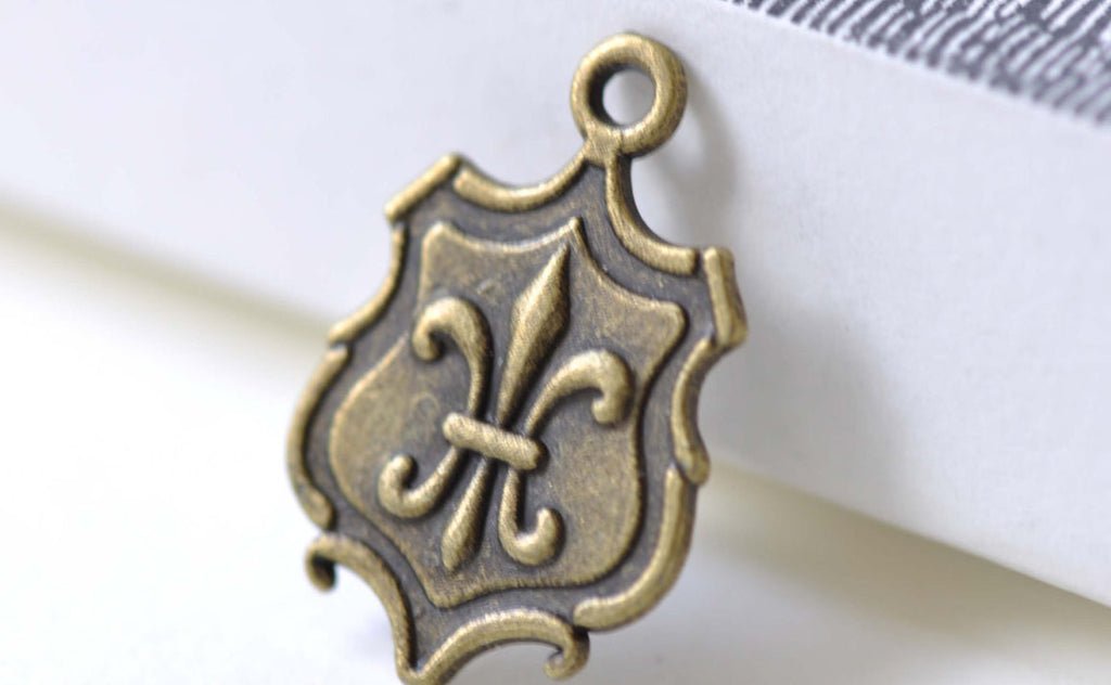 Fleur de Lis Medal Antique Bronze Pendants Charms Set of 10 A7997