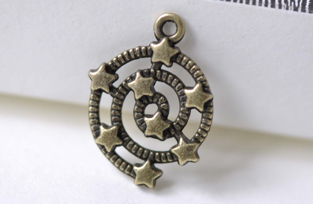 Antique Bronze Spiral Galaxy Star Universe Charms Set of 20 A8005