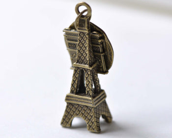 10 pcs Antique Bronze Eiffel Tower Triumphal Arch Pendants A8019