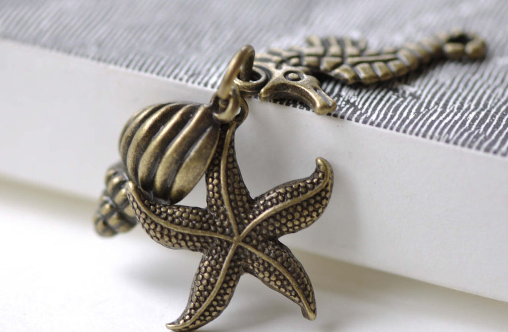 10 Sets Antique Bronze Starfish Seahorse Conch Kit Pendants A8021