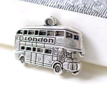 Antique Silver Double Decker London Bus Charms Set of 20 A8026