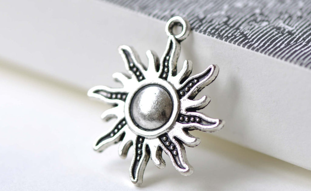 Antique Silver Sun Flame Fire Charms 25x28mm Set of 20 A8031
