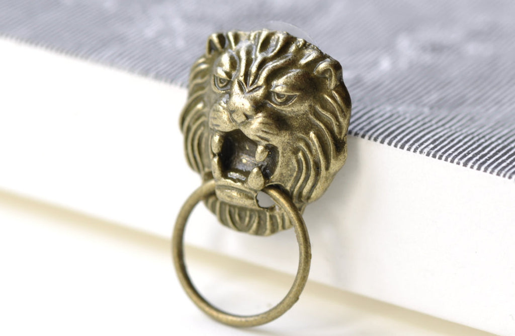 Picture of: Lion Head Ear Stud Door Knocker Earring Posts Set Of 10 A8035 Verycharms