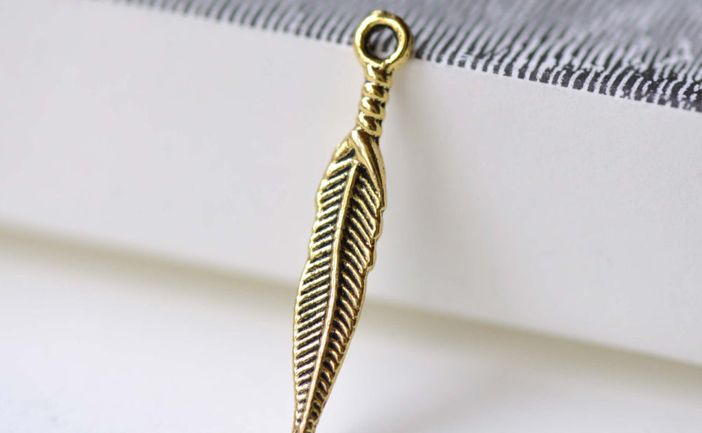 Antique Gold Long Feather Charms 5x28mm Set of 20 A8048