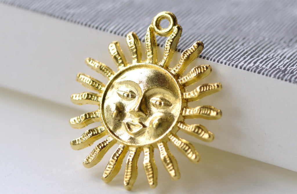 Gold Sun Face Charms Pendants 30mm Set of 10 A8061