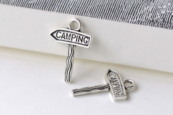 20 pcs Antique Silver Camping Sign Charms Traveling Pendants A7949