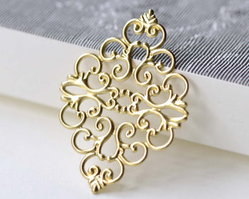 Raw Brass Filigree Rhombus Stamping Embellishments Set of 10 A8088