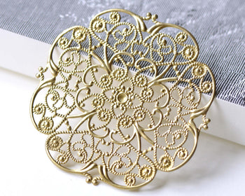 Large Raw Brass Filigree Floral Stamping Embellishments Set of 5 A8087