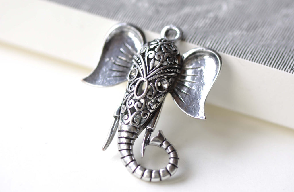 Silver Elephant Pendants Filigree 3D Charms 35x46mm Set of 2 A8105