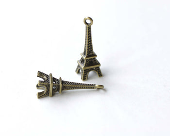 Eiffel Tower Charms Antique Bronze 3D Thick Pendants Set of 20 A8094