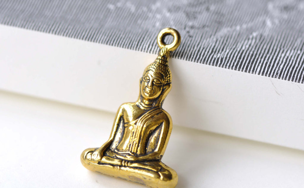 Sitting Buddha Charms Antique Gold Religious Pendants Set of 5 A8100