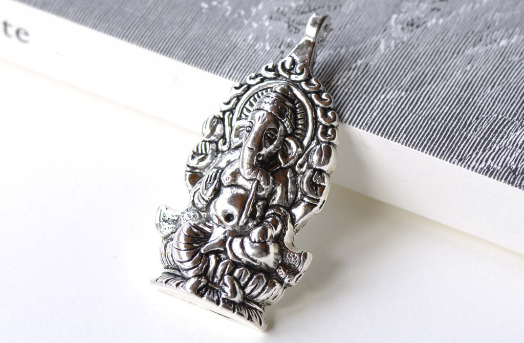 Antique Silver Thai Elephant Pendants Charms 32x62mm Set of 5 A8102