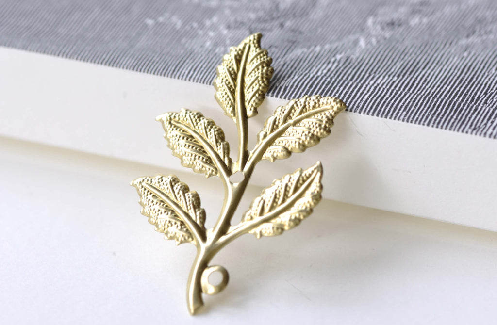 Raw Brass Tree Leaf Stamping Charms  33x50mm Set of 10 A8107