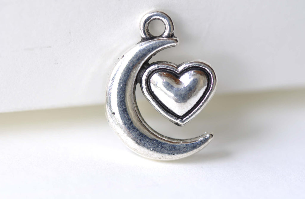 Crescent Moon Heart Charms Antique Silver Pendants Set of 20 A8111