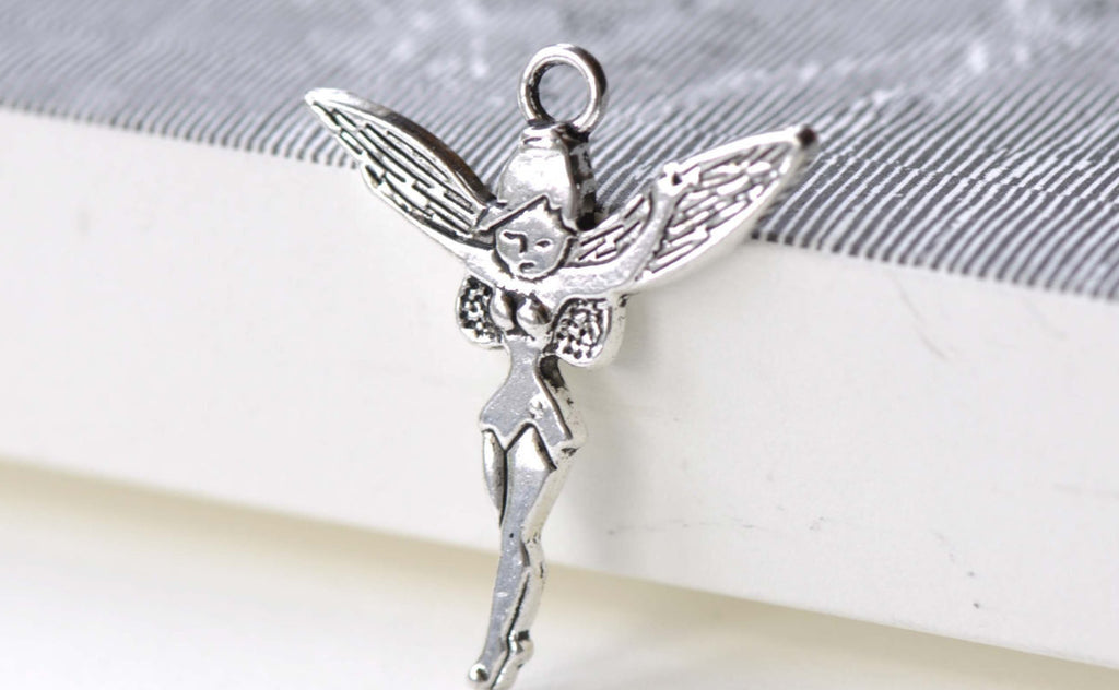 Small Fairy Charms Antique Silver Pendants 24x29mm Set of 10 A8118