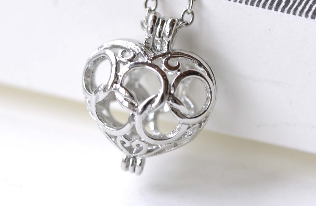 Platinum 3D Heart Wish Box Pendants Charms  16x19mm Set of 4 A8121