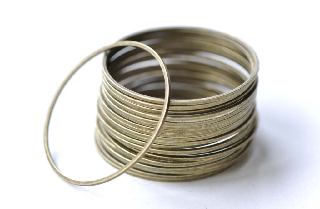 Large Brass Seamless Rings Antique Bronze 30mm  Set of 20 A8130
