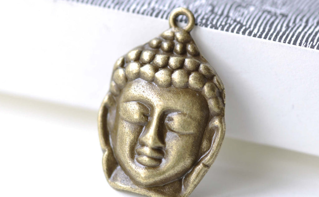 Buddha Head Charms Antique Bronze Religious Charms Set of 10 A8134