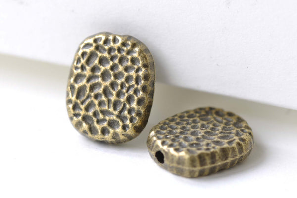 Antique Bronze Hammered Rectangle Rondelle Beads  Set of 20 A8137