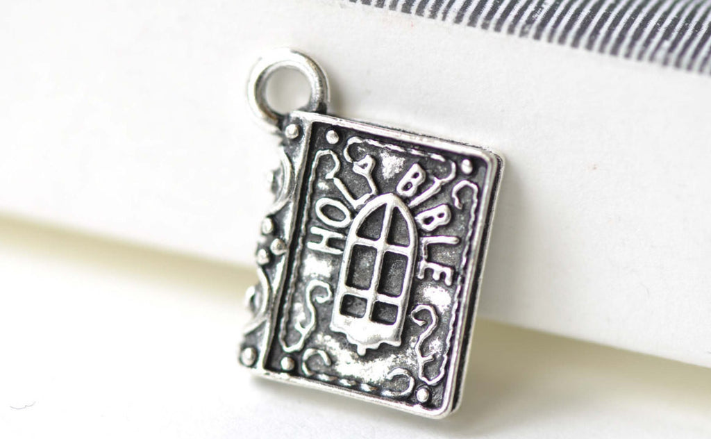Holy Bible Classic Book Antique Silver 3D Charms  Set of 10 A8145