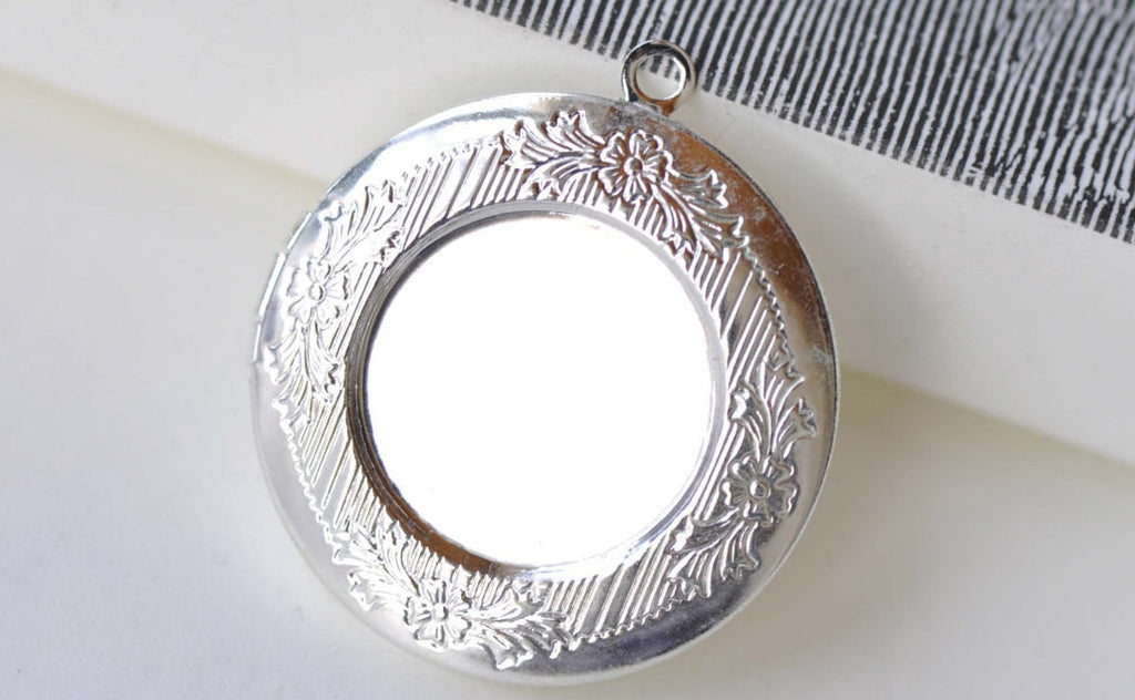 Silver Round Bezel Photo Lockets Match 20mm Cabochon A8151