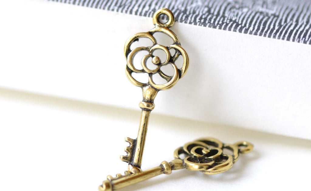 Filigree Flower Key Antique Gold Charms 11x28mm Set of 20 A8152