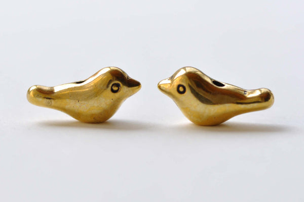 Antique Gold Bird Beads 3D Spacer Beads Charms Set of 20 A8046
