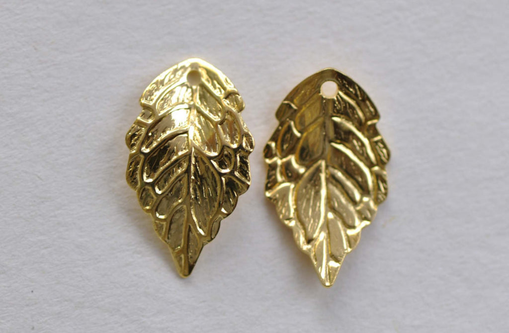 Gold Curved Leaf Charms 10x17mm Set of 30 A8156