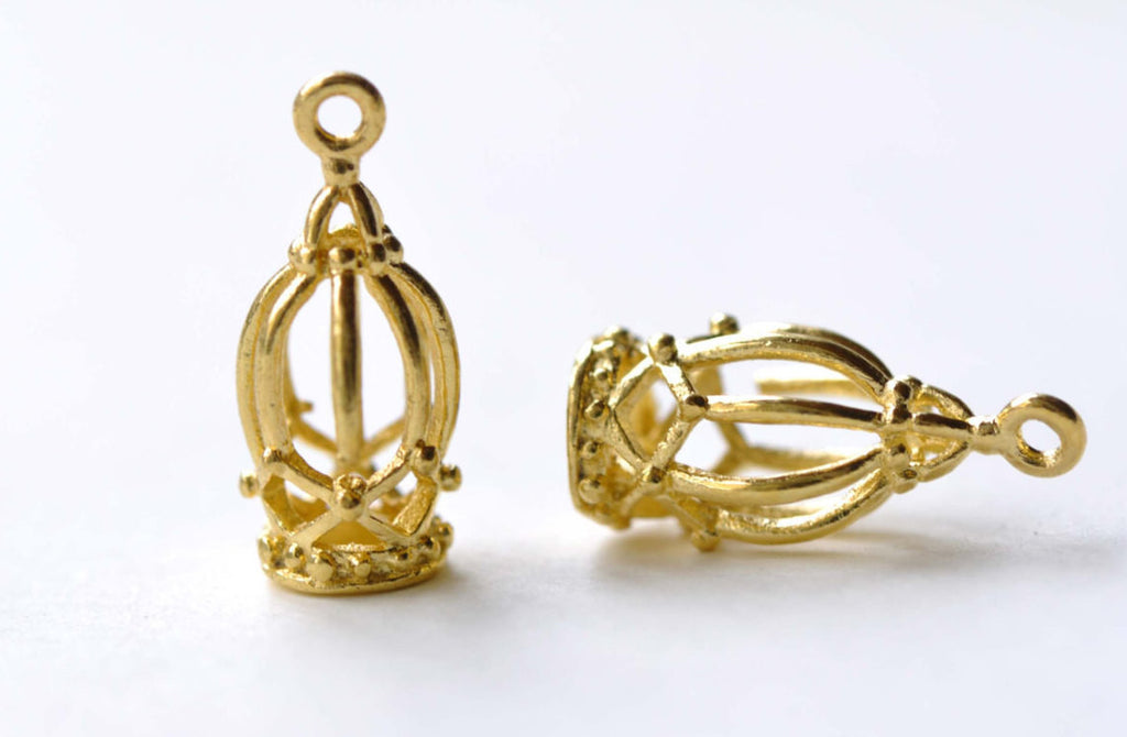 Anti Tarnish 16K Gold Bird Cage Charms Set of 10 A8158