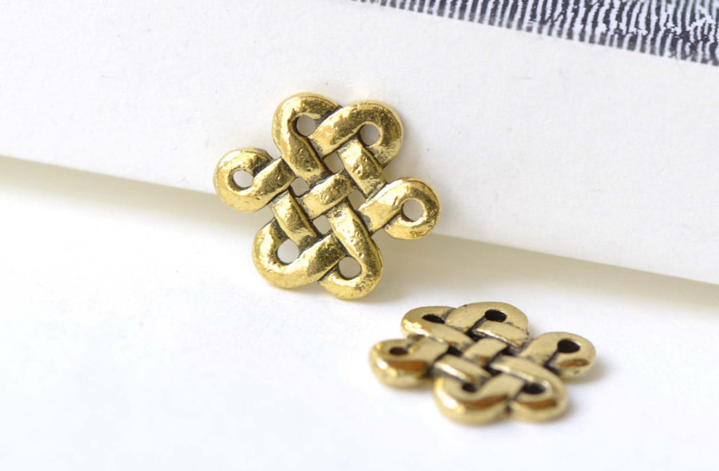 Antique Gold Chinese Knot Connector Charms 14x17mm Set of 20 A8153