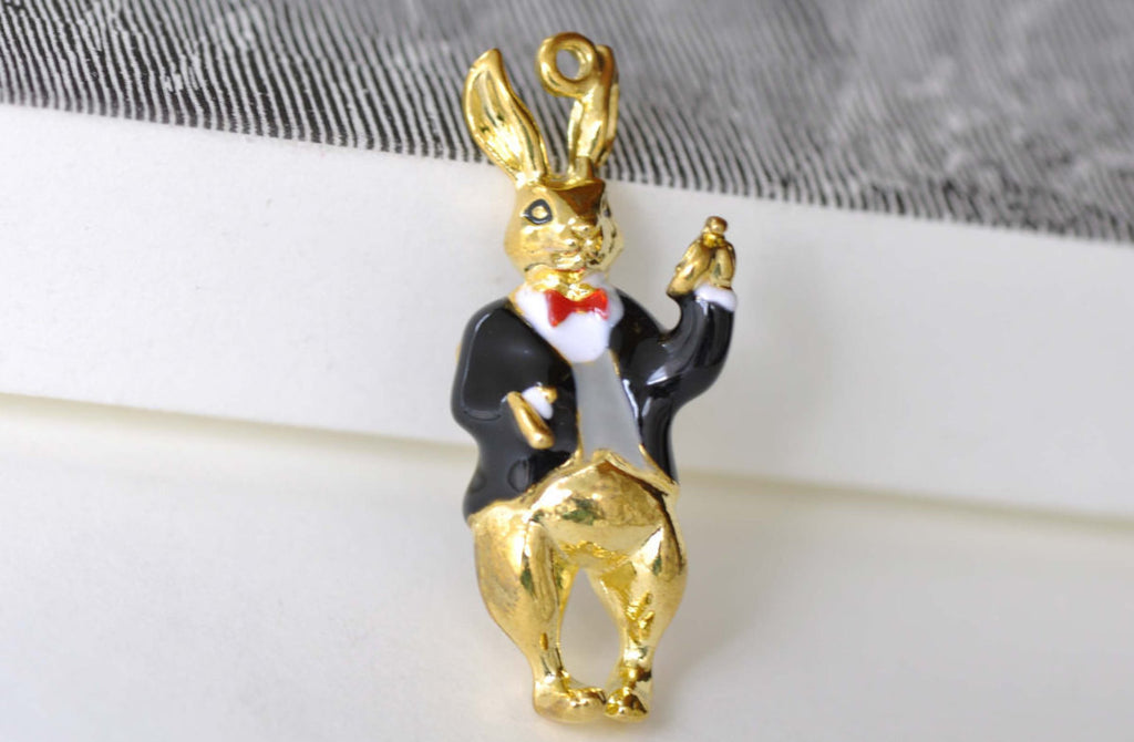 Gold Enamel Rabbit in Suit Pendants Charms 14x36mm Set of 2 A8154