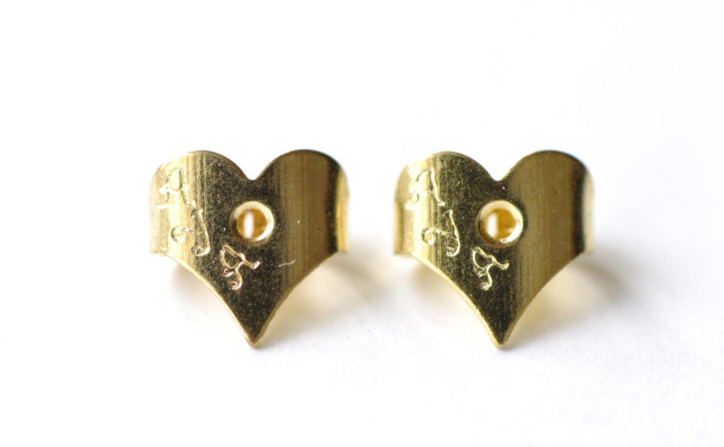 Gold Heart Earnuts Earring Stoppers Butterfly Backs Set of 50 A8161