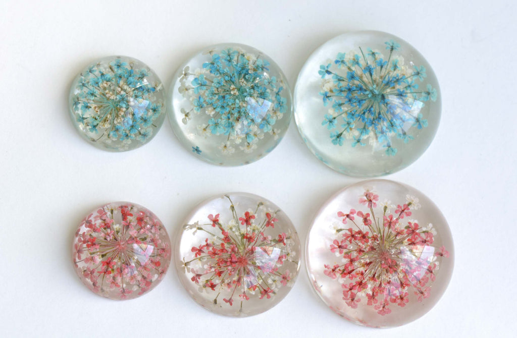 10 pcs Resin Cabochon Round Dome Blue Red Flower Pendants