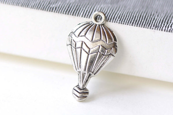 Antique Silver Hot Air Balloon Charms 16x30mm Set of 10 A8188