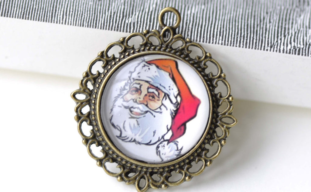 Santa Claus Photo Glass Cabochon Round Cameo 25mm Set of 5 A8198