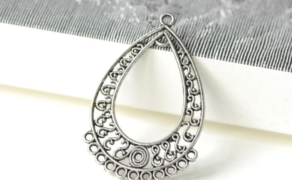 Antique Silver S Shaped Teardrop Chandelier Earring Set of 10 A8202