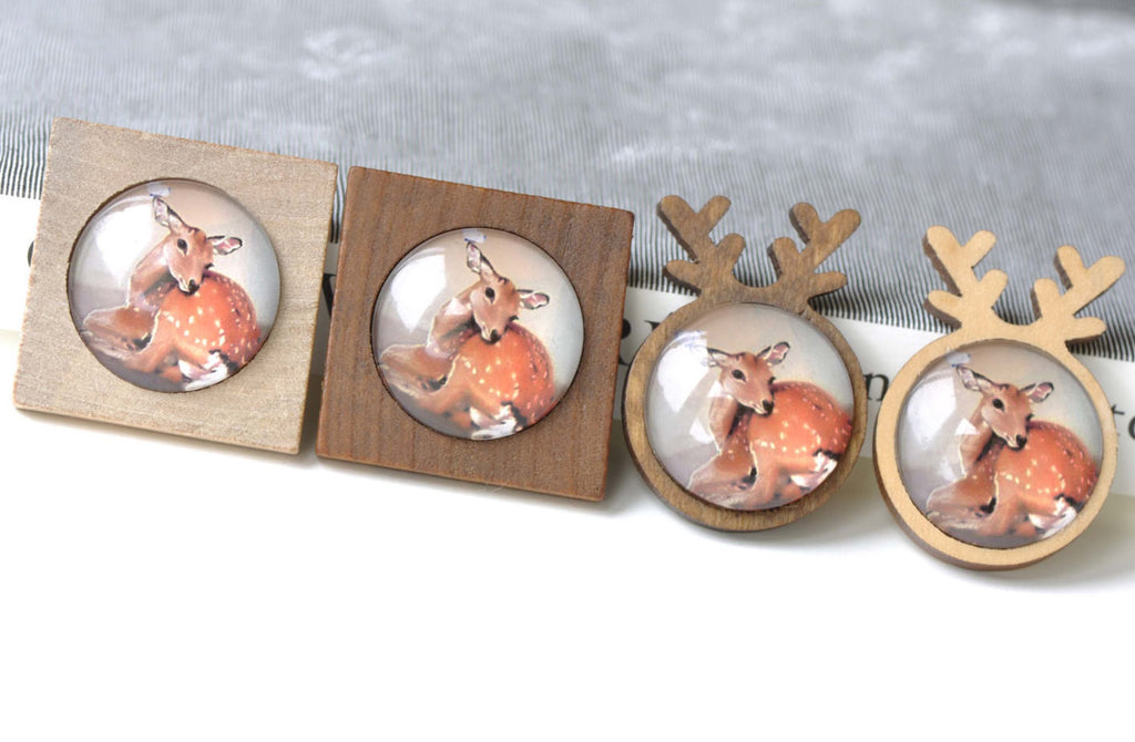 Wooden Pendant Tray Antler/Square Bezel Settings Set of 4
