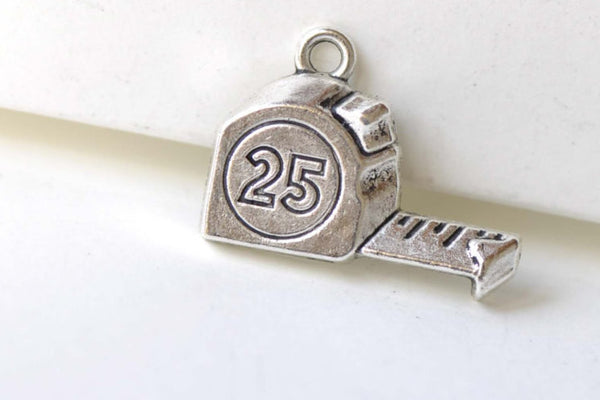 Antique Silver Tape Measure Charms Pendants 16x23mm Set of 20 A8225