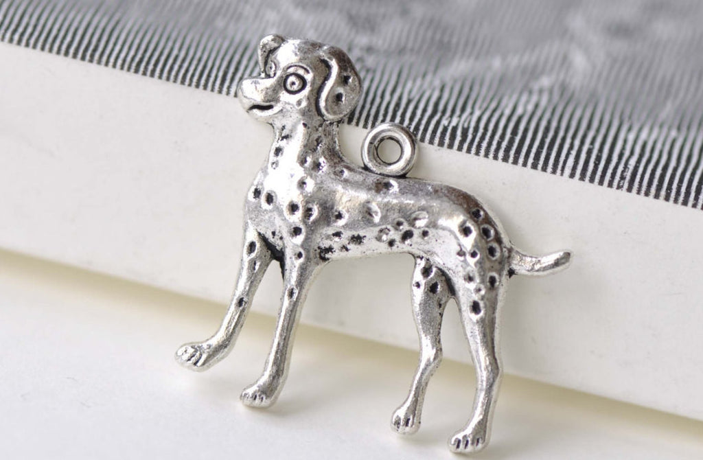 SALE Antique Silver Dalmatian Dog Charms 28x29mm Set of 10 A8229