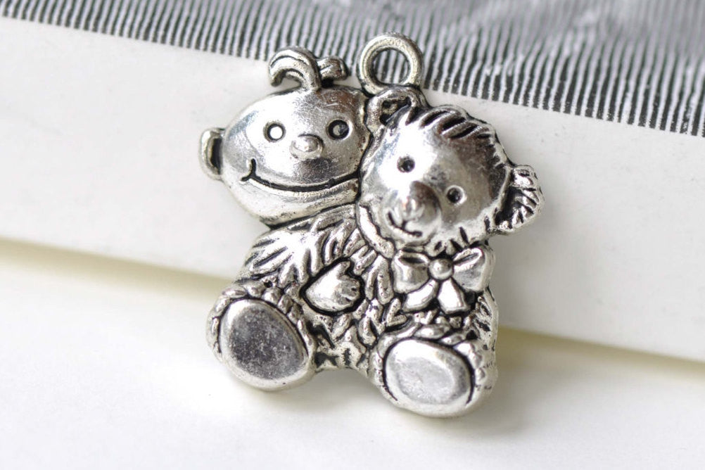 SALE Antique Silver Toy Bear Charms Pendants 25x26mm Set of 10 A8237