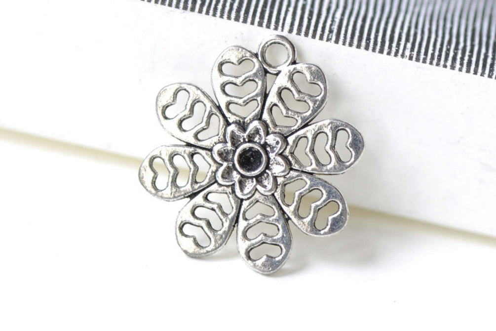 Heart Flower Charms Antique Silver Snowflake Pendants Set of 10 A7936