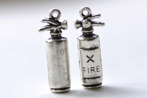 Fire Extinguisher Antique Silver Firemen Pendants Set of 10 A8268