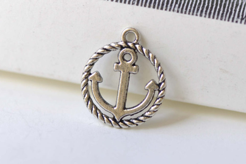 Anchor Ring Charms Antique Silver Nautical Pendants Set of 20 A8258