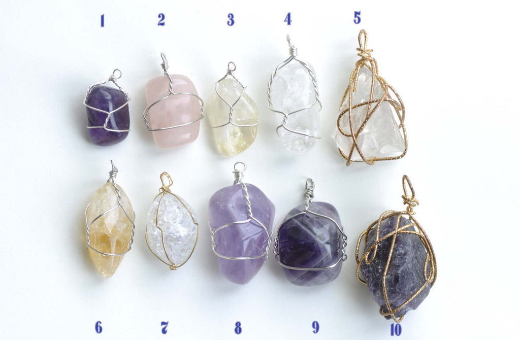 Irregular Wire Wrapped Nugget Rock Crystal/Amethyst/Citrine/Rose Quartz Pendant Set of 1